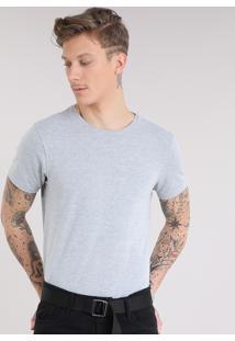 Camiseta Masculina Básica Manga Curta Gola Careca Cinza Mescla