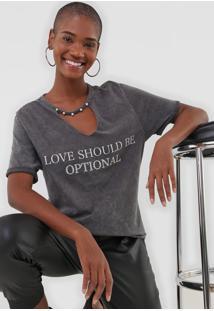 Camiseta Enfim Lettering Grafite
