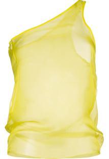 Supriya Lele Blusa Translúcida Ombro A Ombro - Amarelo