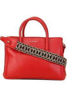 Bolsa Couro Carmim Handbag Yvone Feminina - Feminino-Vermelho