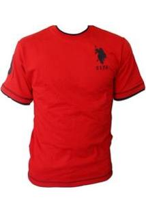 Camiseta U.S. Polo Assn. Uspa Vermelha Gola Redonda Azul Escuro