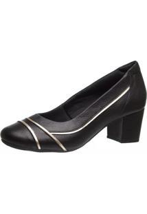 Sapato Feminino 289 Em Couro Preto/Preto/Metalizado Glacê Doctor Shoes - Kanui