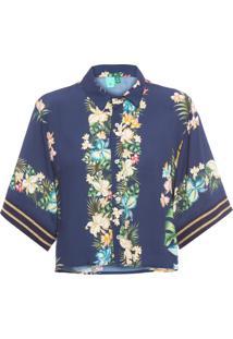 Camisa Feminina Jardim De Orquídea - Azul