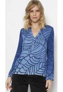 Blusa Abstrata Com Seda & Botões- Azul Marinho & Azul Clvip Reserva