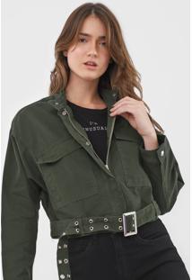 Jaqueta Sarja Colcci Com Cinto Verde