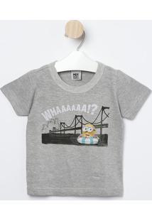 """Camiseta Minions® """"Whaaaa!?"""" - Cinza & Amarela - Malmalwee"""