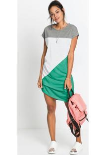 Vestido Com Recortes Geométrico Verde