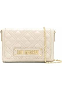 Love Moschino Bolsa Transversal Matelassê Com Logo - Branco