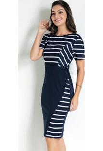 Vestido Com Recorte Listras Azul Moda Evangélica
