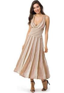 Vestido Pink Tricot Longo Plissado Listrado Feminino - Feminino-Nude