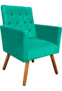 Poltrona Decorativa Nina Capitonê Suede Verde Tiffany D'Rossi