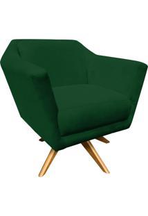 Poltrona Decorativa Lorena Suede Verde Com Base Giratória De Madeira - D'Rossi
