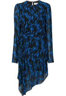 Saint Laurent Vestido Assimétrico De Seda - Preto