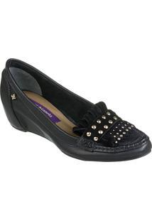 Sapato Feminino Cravo Canela Napa Soft Preto * Top Camurça Pto - 86437-2