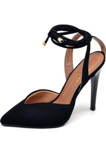 Sapato Ellas Online Scarpin Amarraã§Ã£O Preto - Preto - Feminino - Dafiti