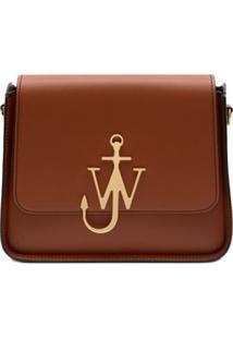Jw Anderson Bolsa Marrom De Couro Com Logo De Ancora