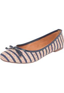 Sapatilha Dafiti Shoes Listras Bege/Azul Marinho
