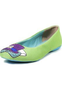 Sapatilha Cupcakes Shoes Bico Quadrado Chapeleiro Verde