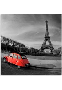 Quadro Paris Carro Vm Uniart Vermelho & Cinza 45X45Cm