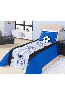 122e561f42b ... Edredom Menino Solteiro Futebol Soccer Azul Estampa Bolas De Futebol E  Chuteiras Com 3 Peças