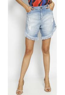 Bermuda Jeans Destroyed Desfiada - Azul - Morena Rosmorena Rosa