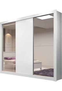 Guarda Roupa Amapá 3 Portas Com 2 Espelhos Branco Brilho