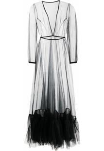 Alchemy Vestido Longo Translúcido Com Tule - Preto