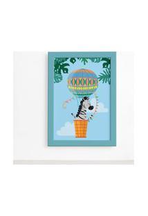 Quadro Infantil Zebra E Baláo Moldura Azul 22X32Cm