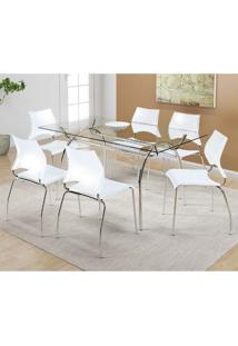 Mesa 379 Com Vidro Incolor Cromada Com 6 Cadeiras 357 Branca Carraro