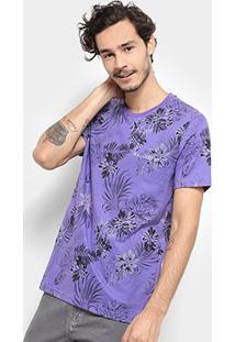 Camiseta Bulldog Fish Floral Silk Total Masculina - Masculino-Roxo