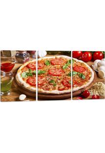 Quadro Oppen House Canvas 60X120Cm Pizza Gastronomia Lanches Vinhos Condimentos - Multicolorido - Dafiti
