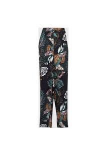 Calça Malwee Pantalona Folhagem Preta/Verde