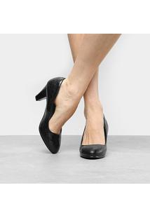 Scarpin Facinelli Salto Médio Textura - Feminino-Preto