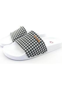 Chinelo Slide Quality Shoes Feminino Quadriculado Preto E Branco Sola Branca 27 27