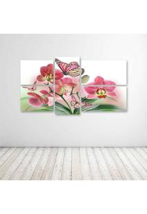 Quadro Decorativo - Flowers Butterflies Butterfly Soft Bokeh - Composto De 5 Quadros