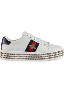 73a701a595a ... Gucci Tênis  Ace  Com Cristais - Branco