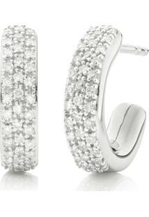Monica Vinader Par De Brincos De Argola Mini Com Diamantes 'Fiji' - Prateado