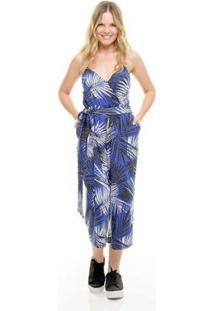 Macacão Aura Floral Feminino - Feminino-Azul