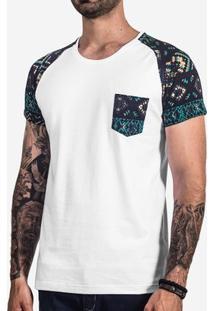 Camiseta Hermoso Compadre Raglan Etnica Masculina - Masculino-Branco