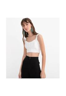 Top Cropped Liso Com Recorte | Blue Steel | Branco | Pp