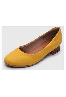 Scarpin Usaflex Salto Amadeirado Amarelo
