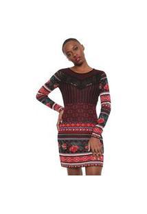Vestido Desigual Curto Tricot Naila Preto/Vermelho