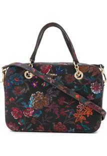 Furla Floral-Print Crossbody Bag - Preto