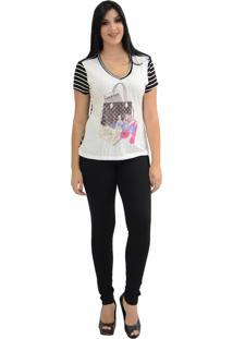 T-Shirt Energia Fashion Bolsa Preto