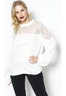 Blusa Com Botões & Renda - Off White - Ahaaha