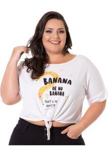 fdaab4f6a8 Blusa Viscolycra Com Amarração Branco Miss Masy Plus Size Feminina -  Feminino-Branco