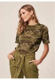 Camiseta Jacquard Camuflado Estampado - Feminina - Feminino
