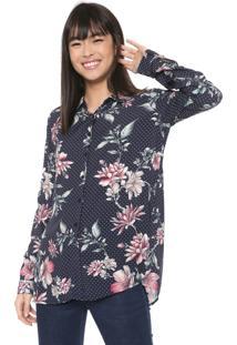 Camisa Malwee Estampada Azul-Marinho