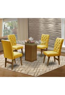 Mesa Para Sala De Jantar Saint Louis Com 4 Cadeiras – Dobuê Movelaria - Mell / Canario