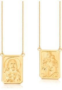 Eacapulário De Ouro 18K Medalhas Ornato De N.S.Do Carmo E S.C.De Jesus-Coleção Escapulários